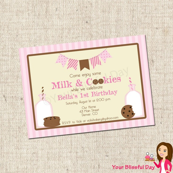 PRINTABLE Girl Milk & Cookies Party Invitations #553