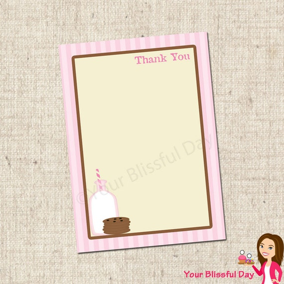 PRINTABLE Girl Milk & Cookies Party Thank You Cards #553
