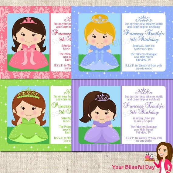 PRINTABLE Princess Party Invitation (Character and Background of your choice) #573