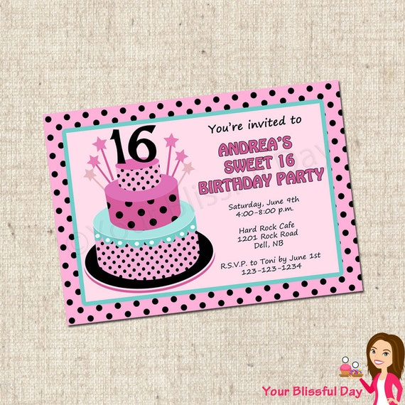 Punchy image for printable sweet 16 invitations