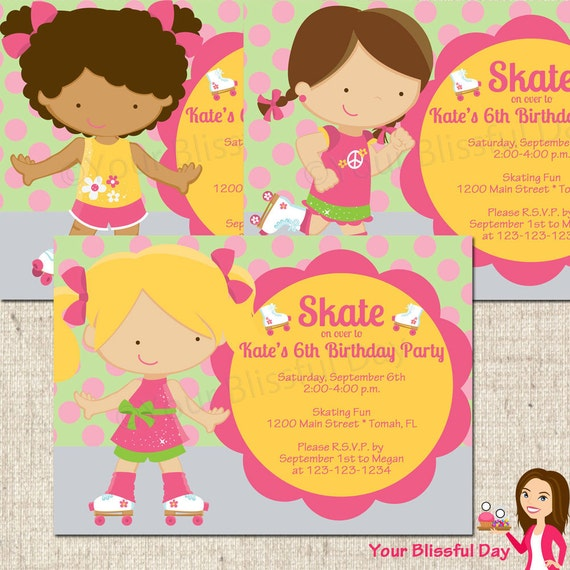 PRINTABLE Girl Roller Skating Party Invitation (Character of your choice) #580