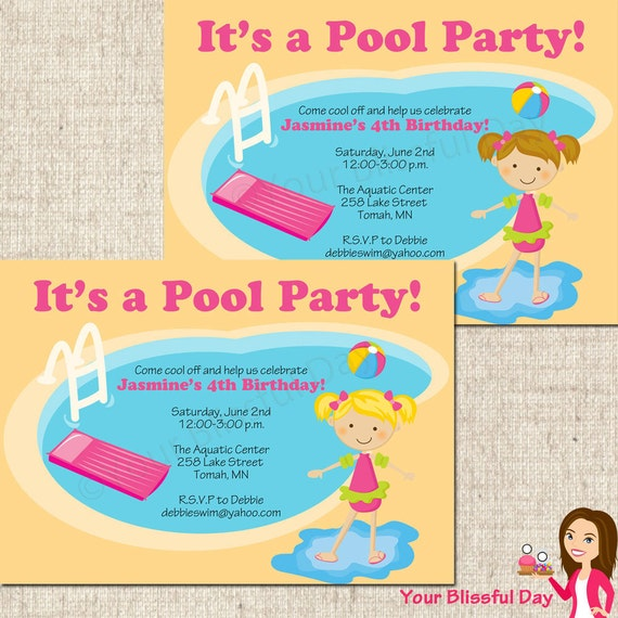 Crush image for printable pool party invitations