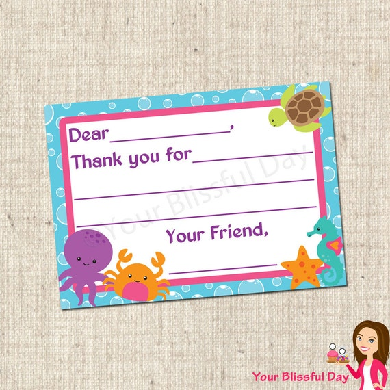PRINTABLE Under the Sea Fill-in-the-Blank Thank You Cards #597