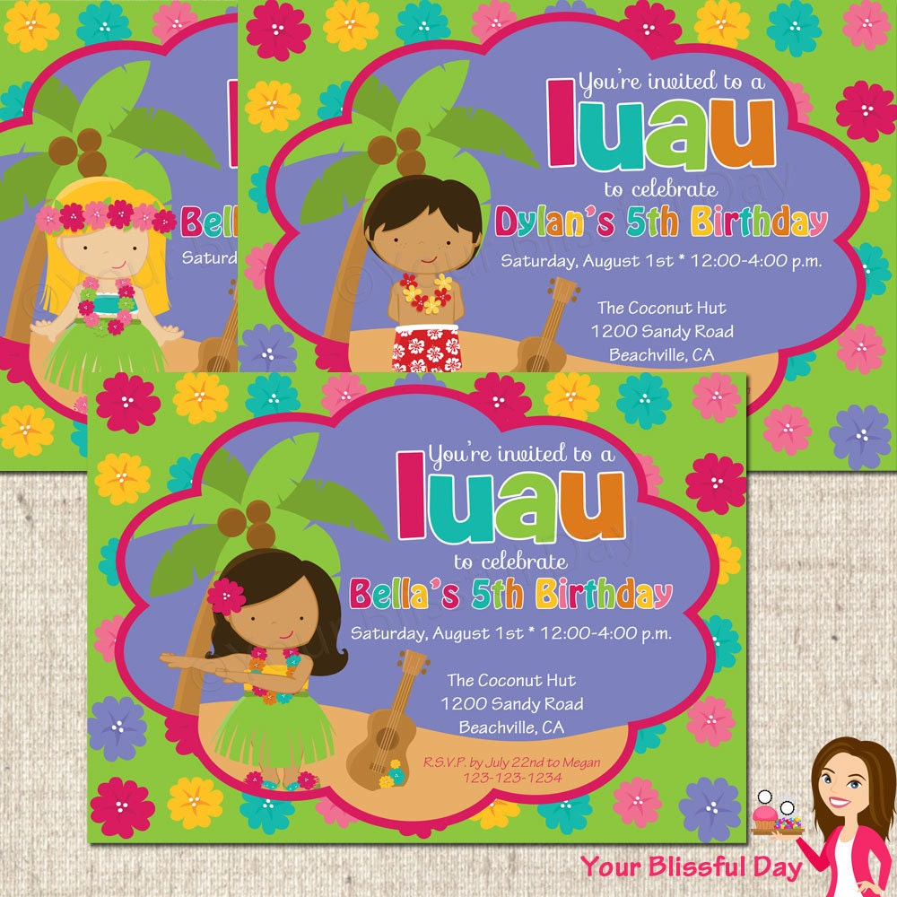 printable luau party invitation character of by
