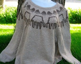 Anasazi inspired hand sweater in natural alpaca. wool, and yak