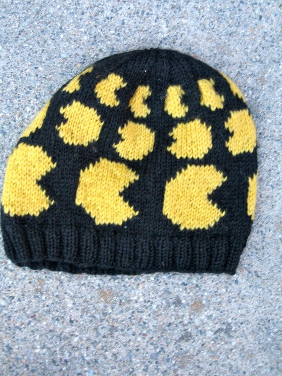 wool Pac Man hat, yellow on black
