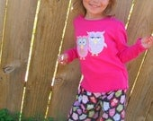Owl Applique Shirt and Ruffled Pants Outfit