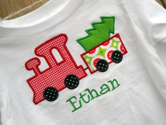 Christmas Train and Tree Custom Boys Applique Shirt