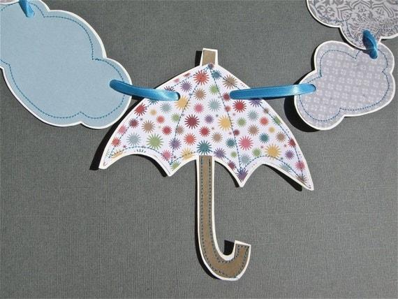 Umbrella Banner Rain Cloud Banner, Baby Shower Banner Gray, Umbrella Garland Rain Cloud Garland, Spring Decoration, April Showers Decoration