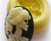 Lady Skull Cameo 18x20mm Mold Silicone Flexible Kawaii Moulds