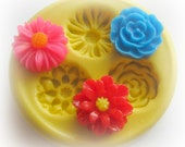 Flower Daisy Rose Polymer Clay Flowers Cabochon Mold Resin Clay Mould