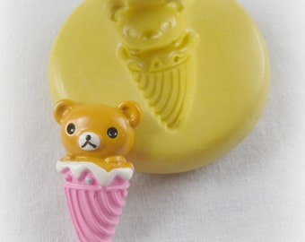 Kawaii Ice Cream Bear Mold Mould Resin Clay Fondant Wax Miniature Sweets Jewelry Charms Flexible Molds