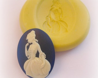 Lady Cameo Mold Colonial Victorian Resin Fondant Clay Mould