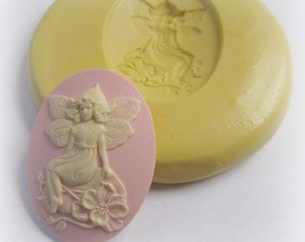 Flower Fairy Cameo Mold Resin Fondant Clay Mould