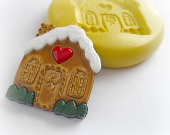 Fondant Gingerbread House Mold Candy Melts DIY Crafts Magnet Brooch Christmas Candy House