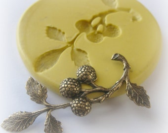 Berry Branch Mold Mould Resin Clay Fondant Wax Soap Miniature Sweet Jewelry Charms Flexible Molds