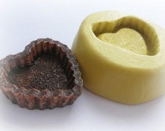 Heart Tart Pie Mold Mould Resin Clay Fondant Miniature SweetsJewelry Charms Flexible Molds