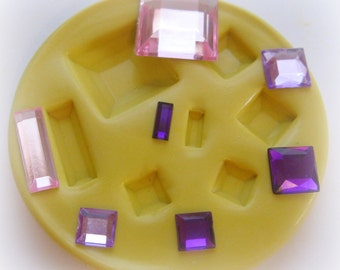 Square Rectangle Faceted Mold Mould Resin Clay Fondant Wax Soap Miniature Sweet Flower Victorian Jewelry Charms Flexible Molds