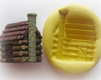 Silicone Log Cabin Mold Baking Fondant Polymer Clay Molds Resin