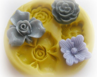 Flower Rose Polymer Clay Flowers Cabochon Mold Resin Clay Mould