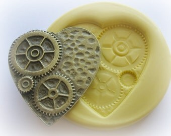 Gears Heart Steampunk Mold Gothic Jewelry DIY Resin Clay Moulds