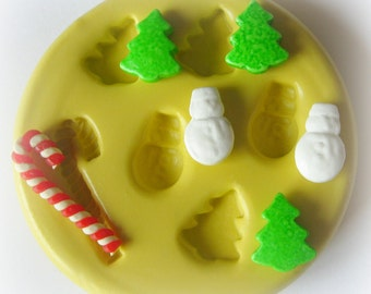 Christmas Tree Snowman Candy Cane Mold Clay Fondant Resin Mold Mold