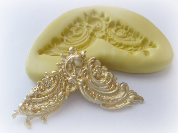 Victorian Corner Art Nouveau Stamping Mold Scrapbooking Resin PMC Clay Flexible Mould