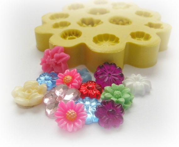 Molds Flower Mold Daisy Tiny Flowers DIY Earrings Design Mold Polymer Clay Resin Button Magnet Mould