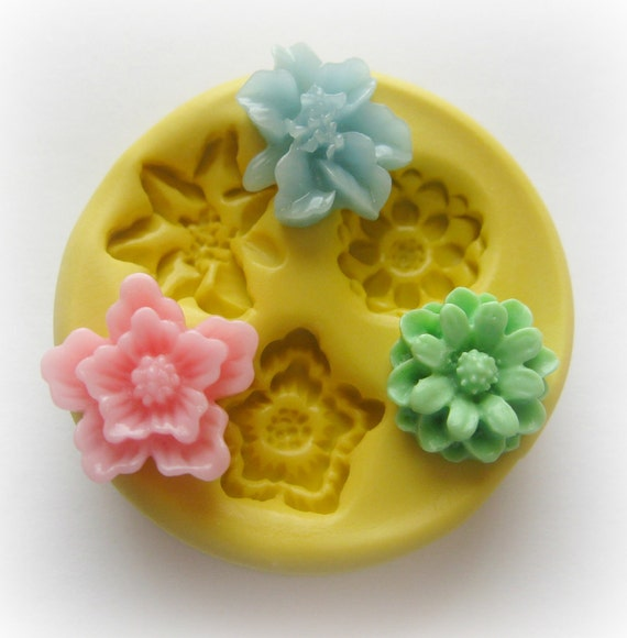 Flower Mold Sakura Sunflower Lilly Cabochon Mold Resin Clay Mum Mould
