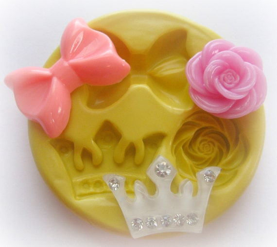 Molds Bow Crown Rose Flower Mold Fondant Resin Polymer Clay Mold