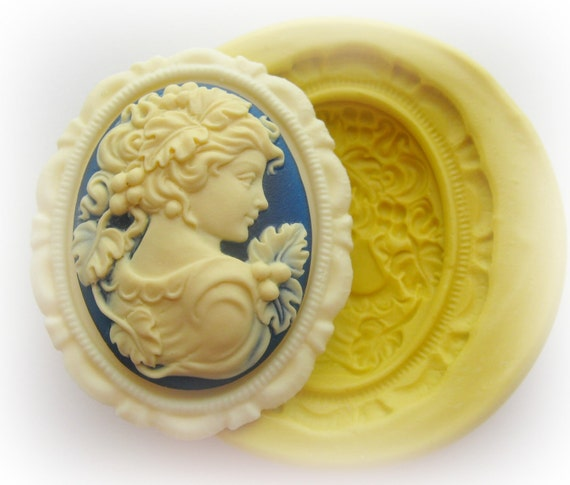 Lady Cameo Mold Silicone Frame Flexible Mould Polymer Clay Resin Soap Wax Molds