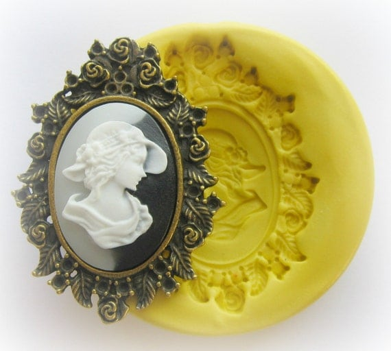 Cameo Mold Silicone Cameo Frame Flexible Mould Polymer Clay Resin Soap Wax Molds