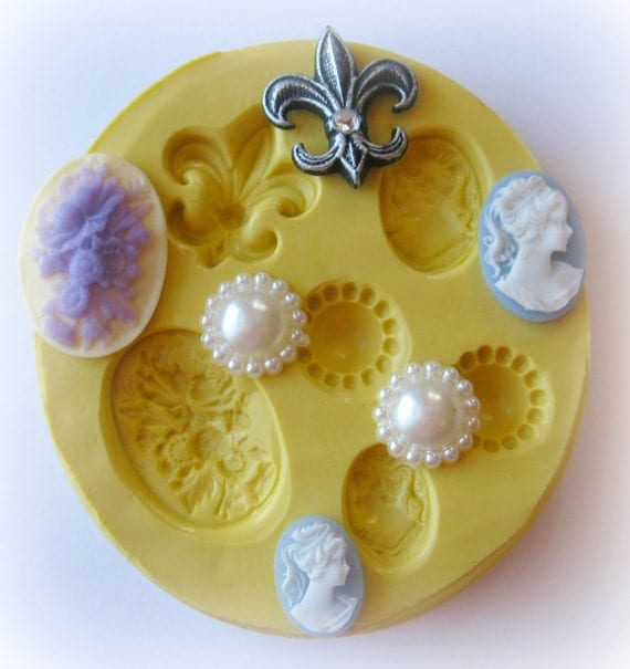 Cameo Fleur de Lis Fondant Mold Large PMC Resin Clay Mould