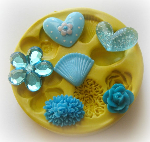 Shell Flower Rose Polymer Clay Flowers Cabochon Mold Resin Clay Mould