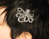 Stamped Metal Octopus Hairclip - Purty Hair by Kirkie Link on Etsy