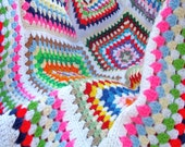 Multicolored Retro-modern Crocheted Granny Square Confetti Afghan