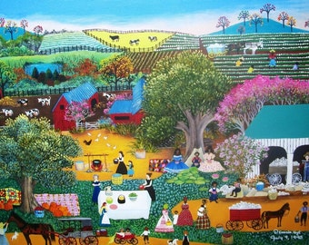 18x24 inch folk art original oil painting on stretched canvas of COTTON PICKIN LUNCHBREAK