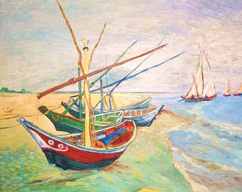 Artist study of Boats At Saintes Maries by Vincent Van Gogh