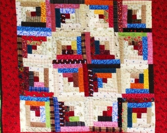 Hand-quilted vintage inspired traditional patchwork log cabin 25  inch square quilt