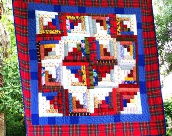 Hand-quilted vintage inspired traditional patchwork 32 inch square log cabin quilt