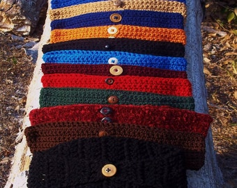 wide headband earwarmer in choice of two styles and 12 fall colors