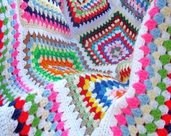 Multicolored Retro-modern Crocheted Granny Square Confetti Afghan
