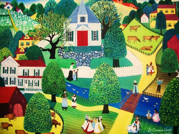 original oil folk art painting of Miss Lottie and the Bridge Valley School measuring 18x24 inches