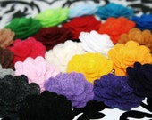 4 Small Rosette Flowers You Pick from 30 Colors 1 inch Felt Pom Poms DIY Headbands Clips Decor