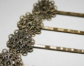 4 Antique Bronze Round Filigree Bobby Pin Blanks 16mm Wide 54mm Long
