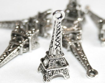 3 Silver Tone Eiffel Tower Charm Pendants 24mm X 8mm