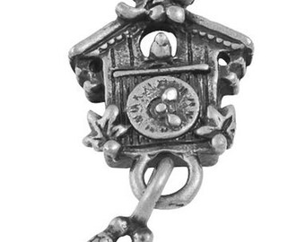 3 Antique Silver Tone Coo Coo Bird Clock Charm Pendants 25mm long 10mm wide