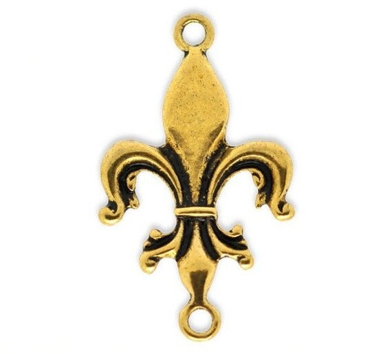 5 Antique Gold Fleur De Lis Pendant Connectors 32x19mm