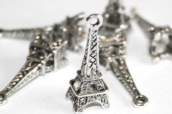 50% OFF 6 Silver Tone Eiffel Tower Charm Pendants 24mm X 8mm