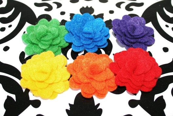 6 Handmade 1 Inch Felt Rosettes Rainbow Colors Headbands Clips Brooch Decor Crafts